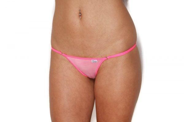Mini Sheer Two Tone Pink Bikini Bottom